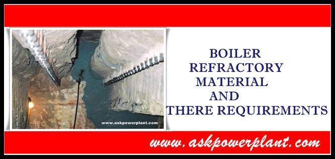 BOILER REFRACTORY MATERIAL AND THERE REQUIREMENTS