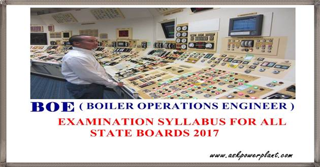 BOE (Boiler Operation Engineer) SYLLABUS 2017 - ASKPOWERPLANT