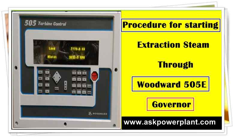 Procedure for starting extraction steam through Woodward 505E Governor